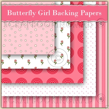 5 Butterfly Girl Backing Papers Download (C148)