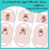 Six Gingerbread Angel Pillowbox Purse Giftboxes