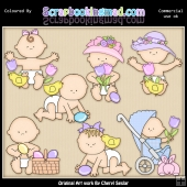 Easter Babies ClipArt Graphic Collection