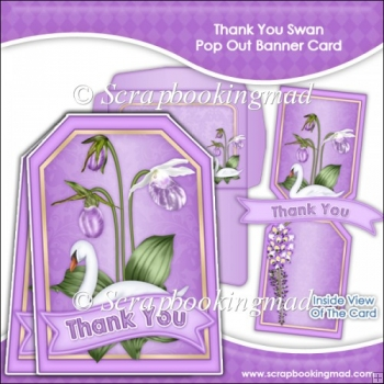 Thank You Swan Pop Out Banner Card