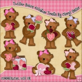 Toddler Bears Valentine Bears ClipArt Graphic Collection