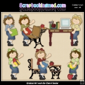 Off To School Girls ClipArt Graphic Collection