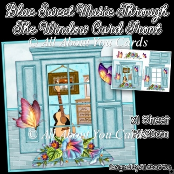 Blue Sweet Music Through The Window Card Front