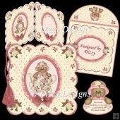 Teaset Bear Scalloped Card
