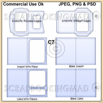 C7 Envelope Card & Insert Templates Commercial Use