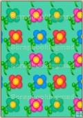 A4 Backing Papers Single - Green Flowers - REF_BP_165