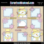 Pink & Yellow Let It Snow Squares ClipArt Graphic Collection