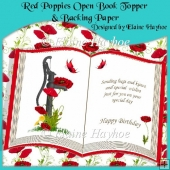 Red Poppies Open Book Topper & Backing Paper