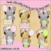 Sweet Little Kitty Birthday Girl ClipArt Graphic Collection