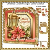 Christmas Lantern Scalloped Corner Card Kit