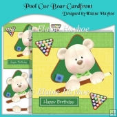 Pool Cue Birthday Bear Cardfront