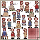 Raggedy Ann Dolls ClipArt Graphic Collection