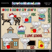 Little Mouse Goes To School ClipArt Collection