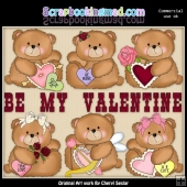 Booboo Bear Be My Valentine ClipArt Collection