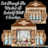 Cat Through The Window 3D Scenery Card & Envelope