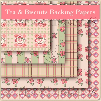 5 Tea & Biscuits Backing Papers Download (C110)
