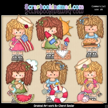 Betsy Summer Vacation ClipArt Collection