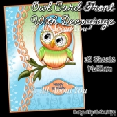 Orange and Blue Owl Card Front with Decoupage Layers