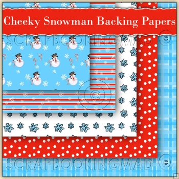 5 Cheeky Snowman Christmas Backing Papers Download (C212)