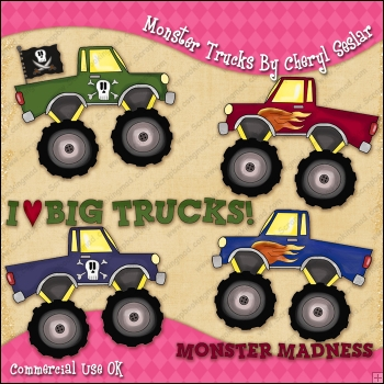 Monster Trucks ClipArt Graphic Collection