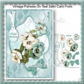 Vintage Pansies On Teal Satin Card Front