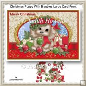 Christmas Puppy With Baubles Large Card Front