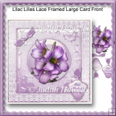 Lilac Lilies Lace Framed Large Card Front