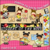 Classroom Fun Girls ClipArt Graphic Collection