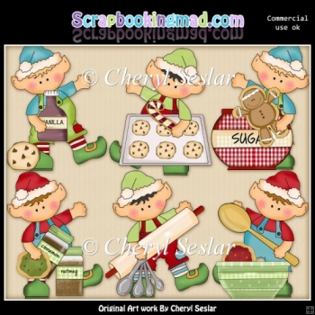 Elfis Helps Bake Cookies ClipArt Collection
