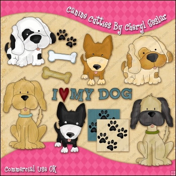 Canine Cutties ClipArt Graphic Collection
