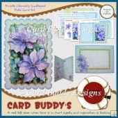 Purple Clematis Scalloped Fold Card