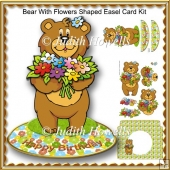 Bear With Flowers Shaped Easel Card Kit