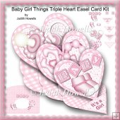 Baby Girl Things Triple Heart Easel Card Kit