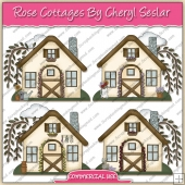 Rose Cottages ClipArt Graphic Collection - REF - CS