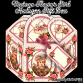 Vintage Flower Girl Hexagon Gift Box