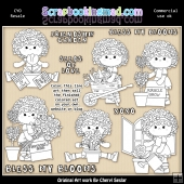 Charlotte Bless My Blooms Colour Your Own ClipArt RESALE SET