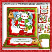 Christmas Bear With Stocking Large Easel Card Kit