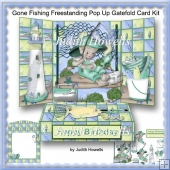 Gone Fishing Freestanding Pop Up Gatefold Card Kit