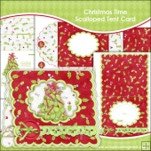 Christmas Time Scalloped Tent Card