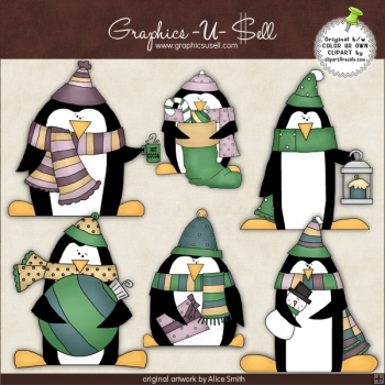 Christmas Penguin 2 ClipArt Graphic Collection