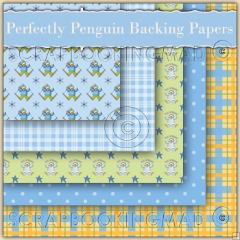 Perfectly Penguin 5 Backing Papers Download (C49)