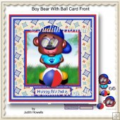 Boy Bear With Ball Card Front