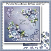Porcelain Roses Square Birthday Card Front