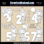 Little Grechin Birthday Numbers Digital Stamp Graphic Collection