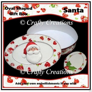 Oval Shaped Gift Box - Santa