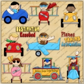 Planes Trains & Automobile ClipArt Graphic Collection