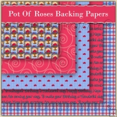 5 Pot Of Roses Backing Papers Download (C178)