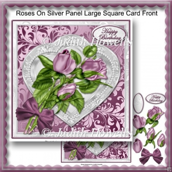 Roses On Silver Panel Large Square Card Front