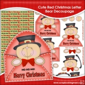 Cute Red Christmas Letter Bear Decoupage Download