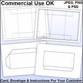 Tri Shutter Card & Envelope Template Commercial Use Ok